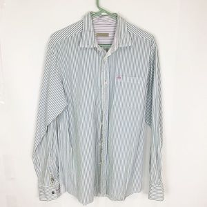 Ted Baker 4 blue green white stripe dress shirt